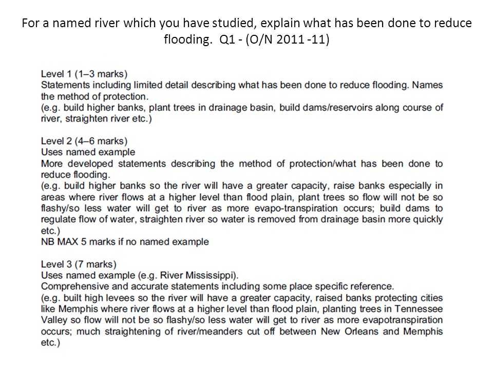 For a named river which you have studied, explain what has been done to reduce flooding. Q1 - (O/N 2011 -11)