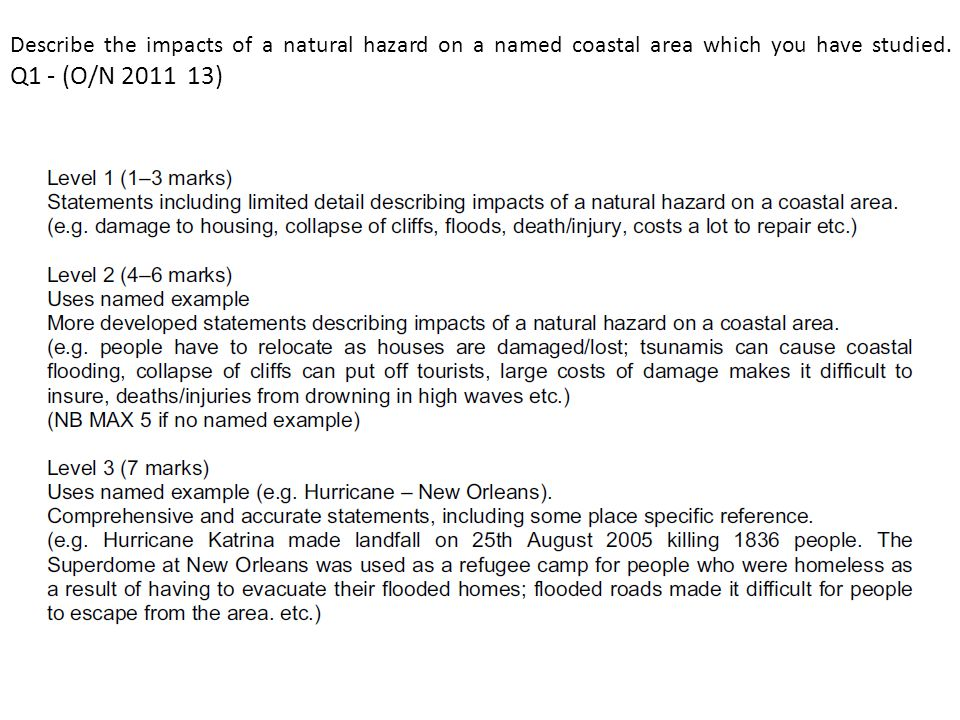 Describe the impacts of a natural hazard on a named coastal area which you have studied. Q1 - (O/N 2011 13)
