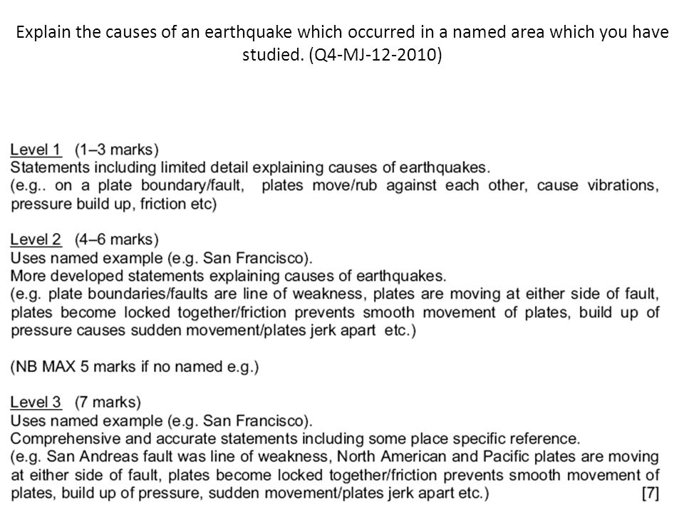 Explain the causes of an earthquake which occurred in a named area which you have studied.