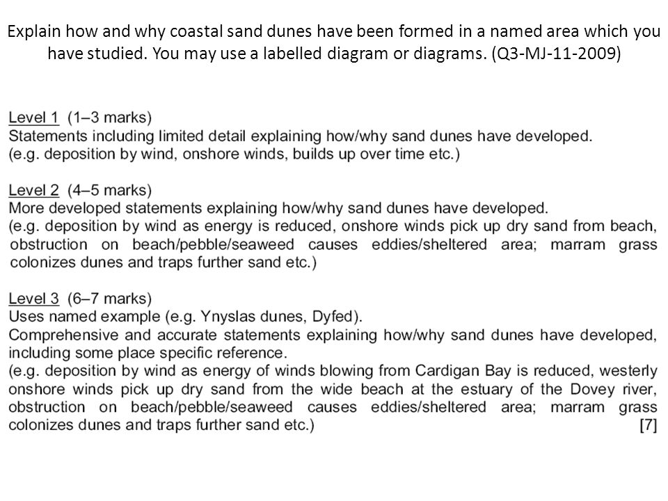 Explain how and why coastal sand dunes have been formed in a named area which you have studied.