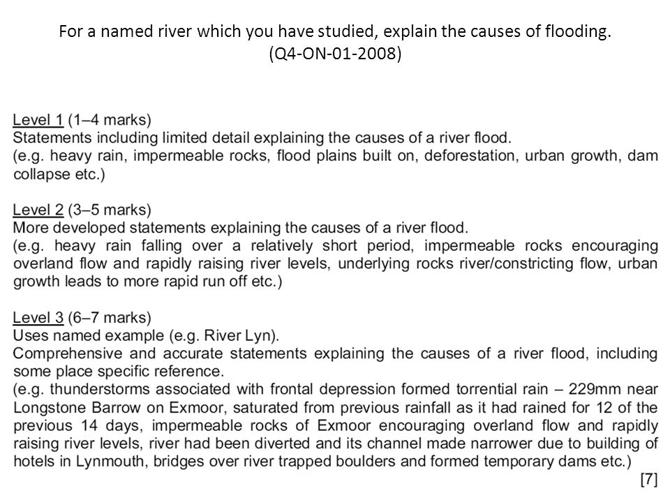 For a named river which you have studied, explain the causes of flooding. (Q4-ON-01-2008)