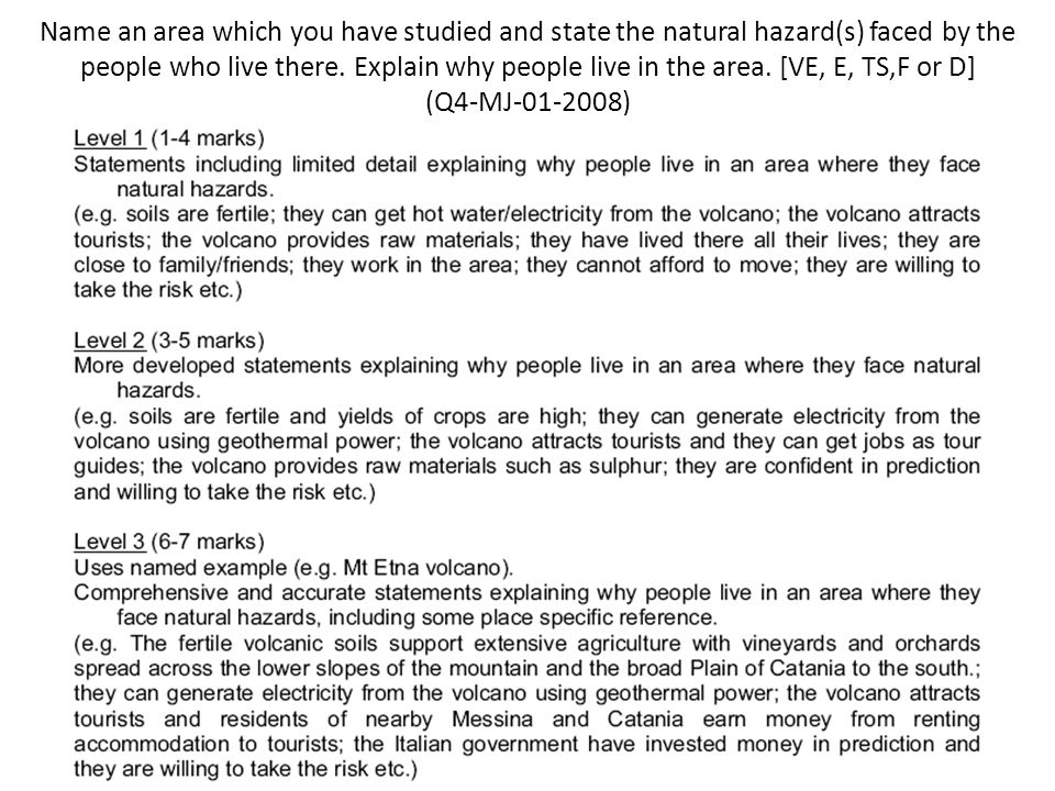 Name an area which you have studied and state the natural hazard(s) faced by the people who live there.