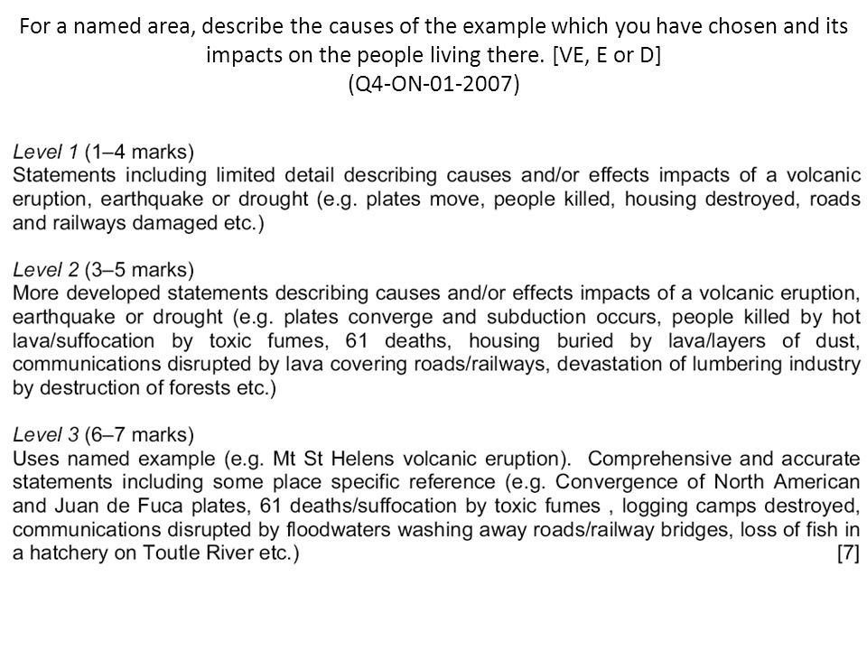 For a named area, describe the causes of the example which you have chosen and its impacts on the people living there.