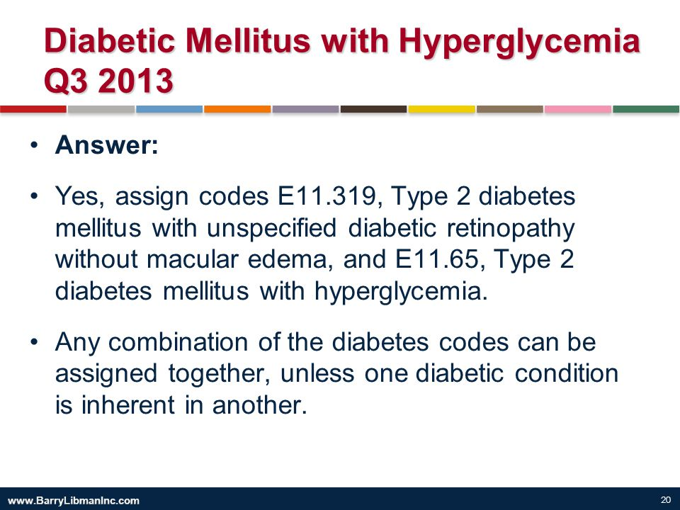 Diabetic Mellitus with Hyperglycemia Q3 2013
