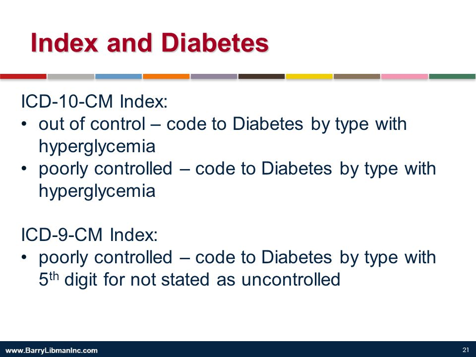 Index and Diabetes ICD-10-CM Index: