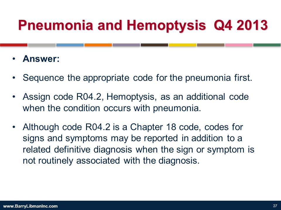 Pneumonia and Hemoptysis Q4 2013