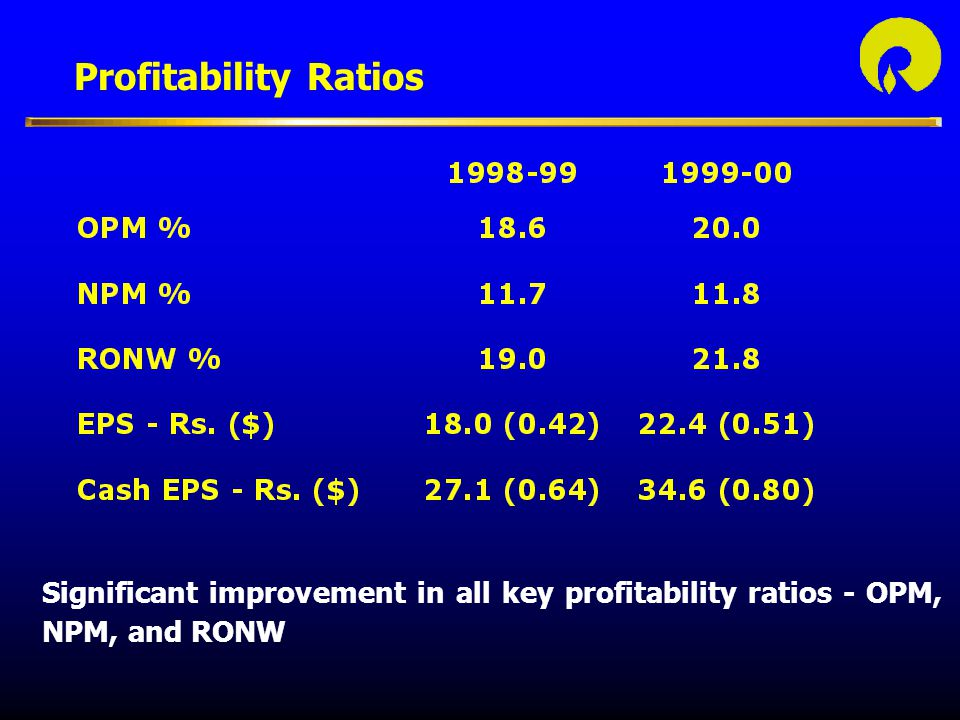 Profitability Ratios Reliance's total debt:equity ratio (based on gross, long term and short term, debt) continues to remain a healthy 0.94:1.