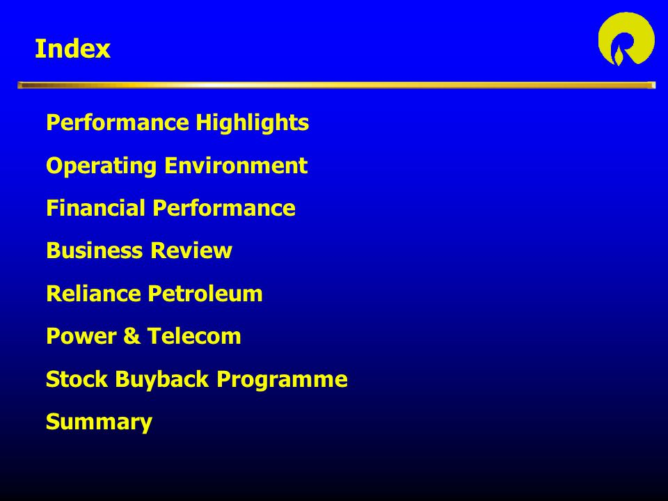 Index Performance Highlights Operating Environment