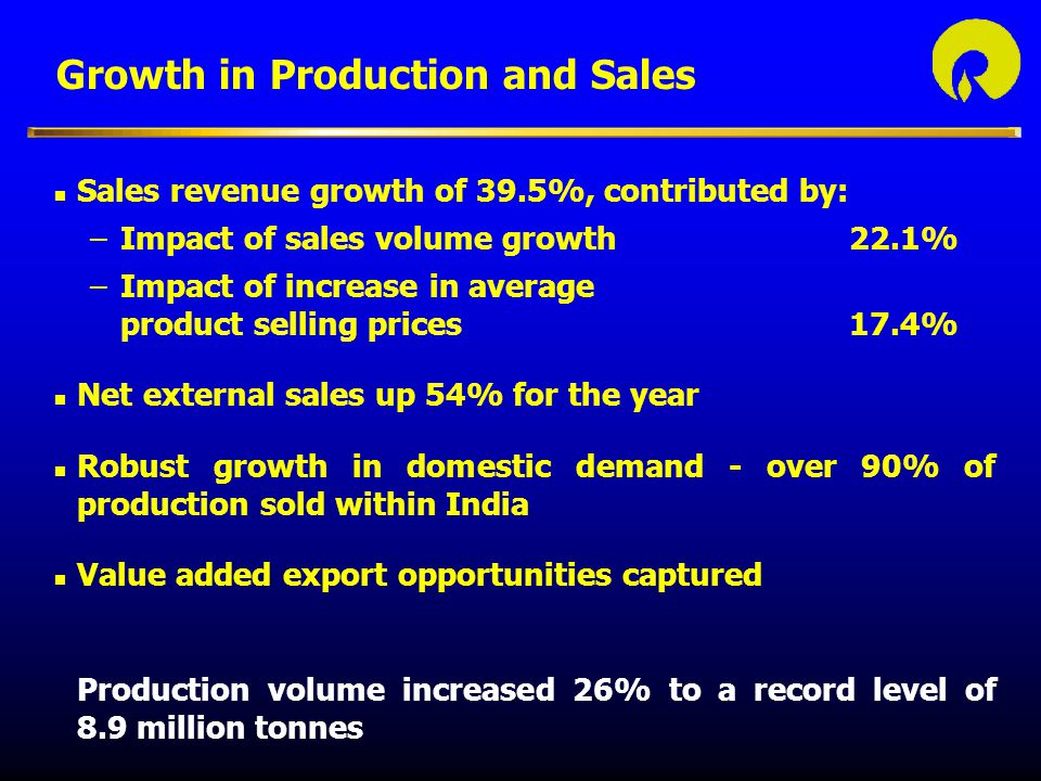 Growth in Production and Sales