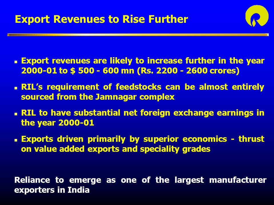 Export Revenues to Rise Further