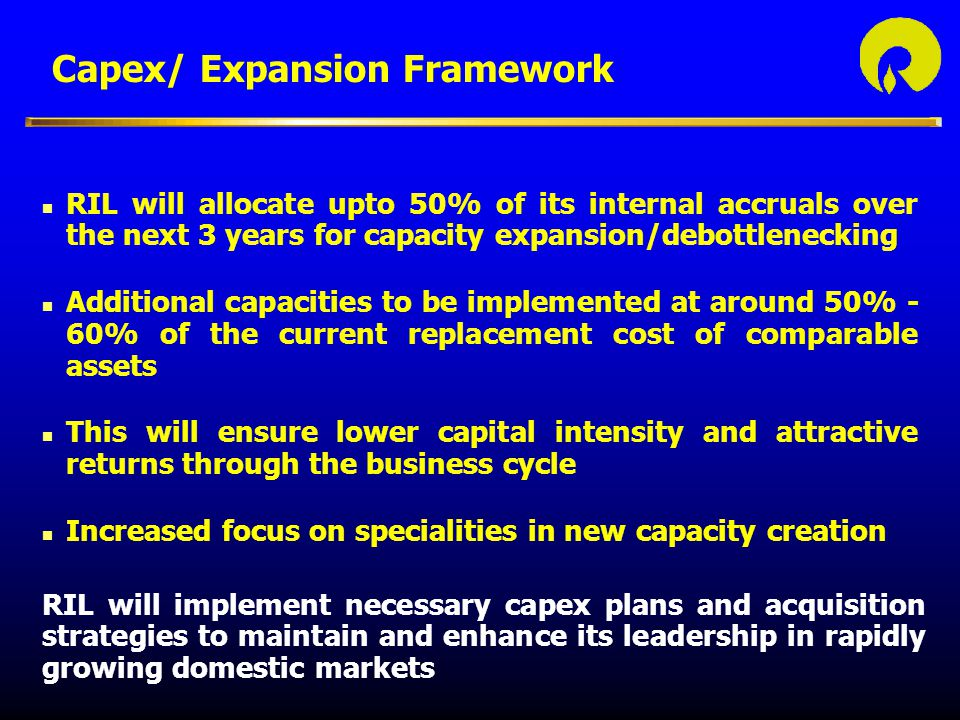 Capex/ Expansion Framework