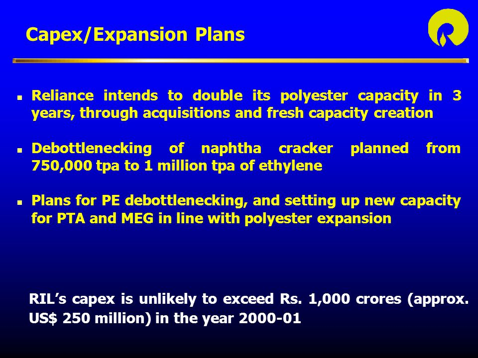 Capex/Expansion Plans