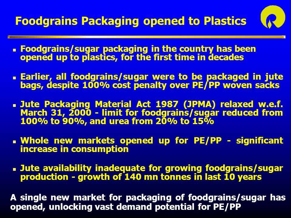 Foodgrains Packaging opened to Plastics