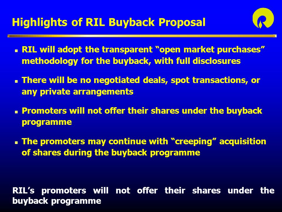 Highlights of RIL Buyback Proposal