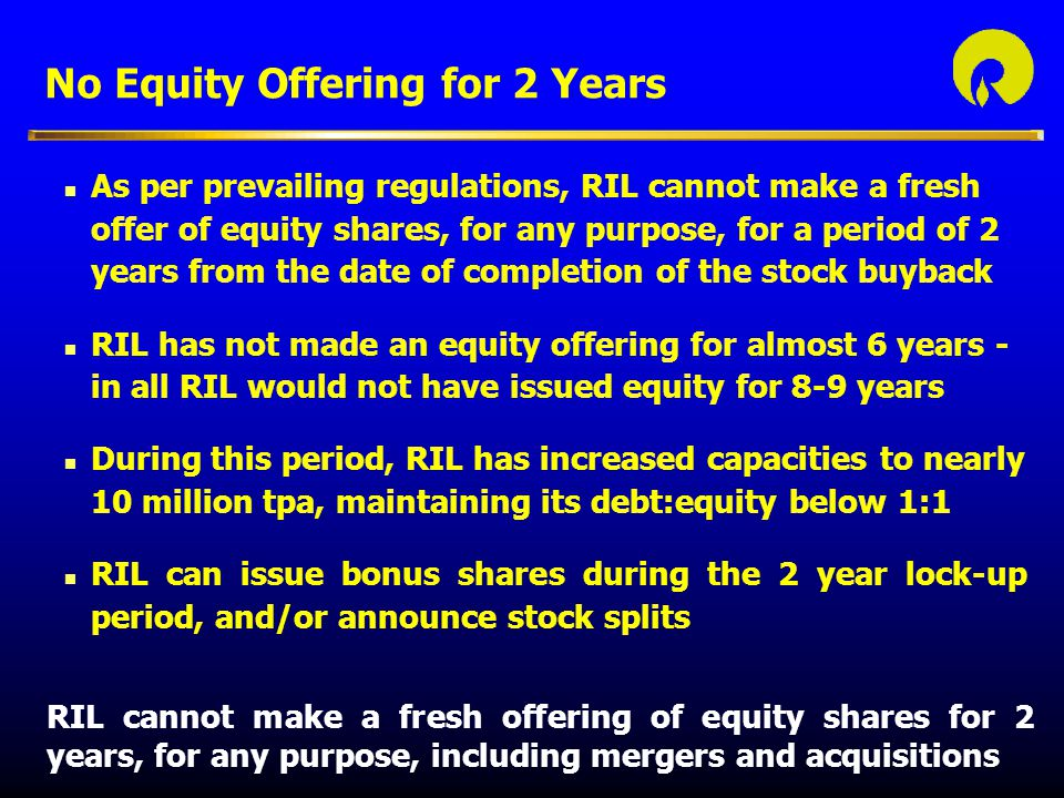 No Equity Offering for 2 Years