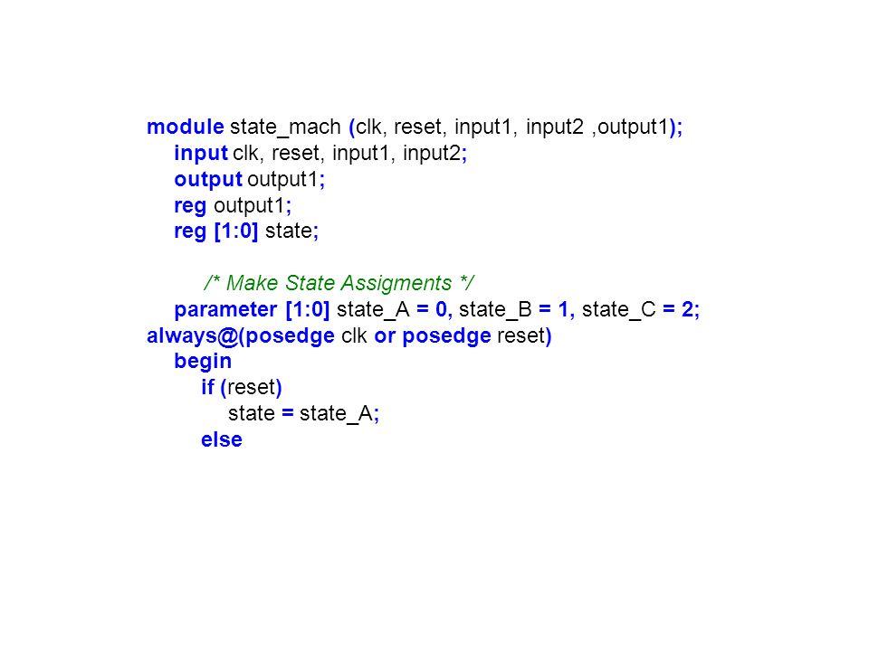 module state_mach (clk, reset, input1, input2 ,output1);