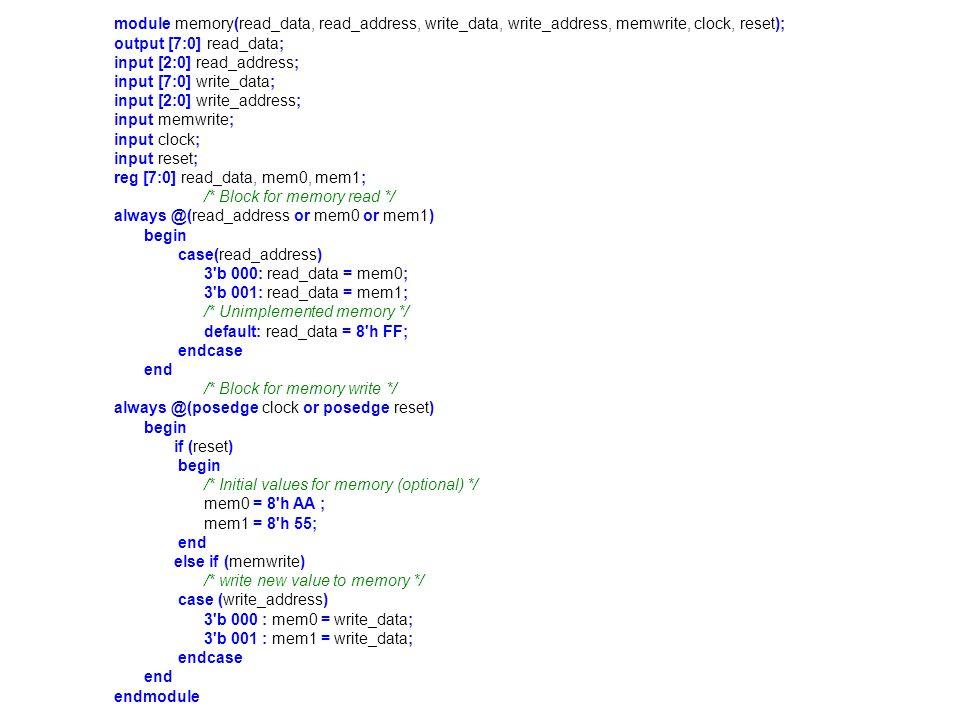 module memory(read_data, read_address, write_data, write_address, memwrite, clock, reset);