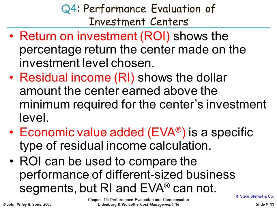 Q4: Performance Evaluation of Investment Centers