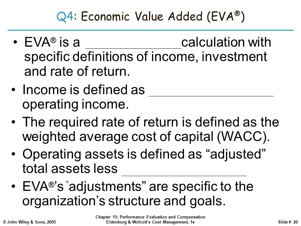 enterprise value added eva Understanding economic value added by david harper (editor in chief this is also called the price-to-ebidta multiple, or the enterprise multiple note.