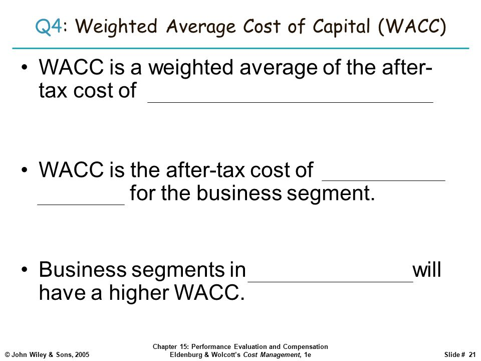 Q4: Weighted Average Cost of Capital (WACC)