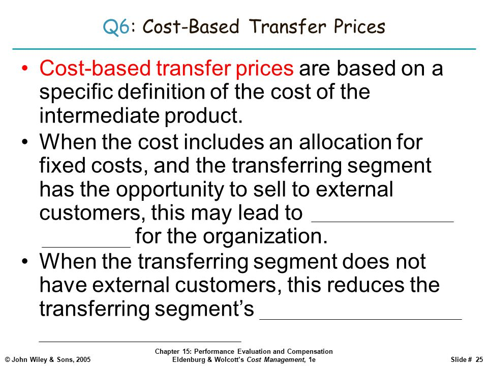 Q6: Cost-Based Transfer Prices