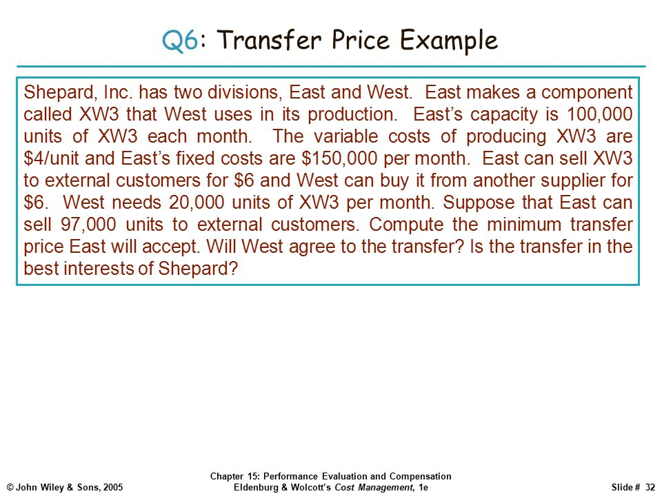 Q6: Transfer Price Example