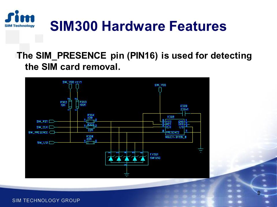 SIM300 Hardware Features The SIM_PRESENCE pin (PIN16) is used for detecting the SIM card removal.