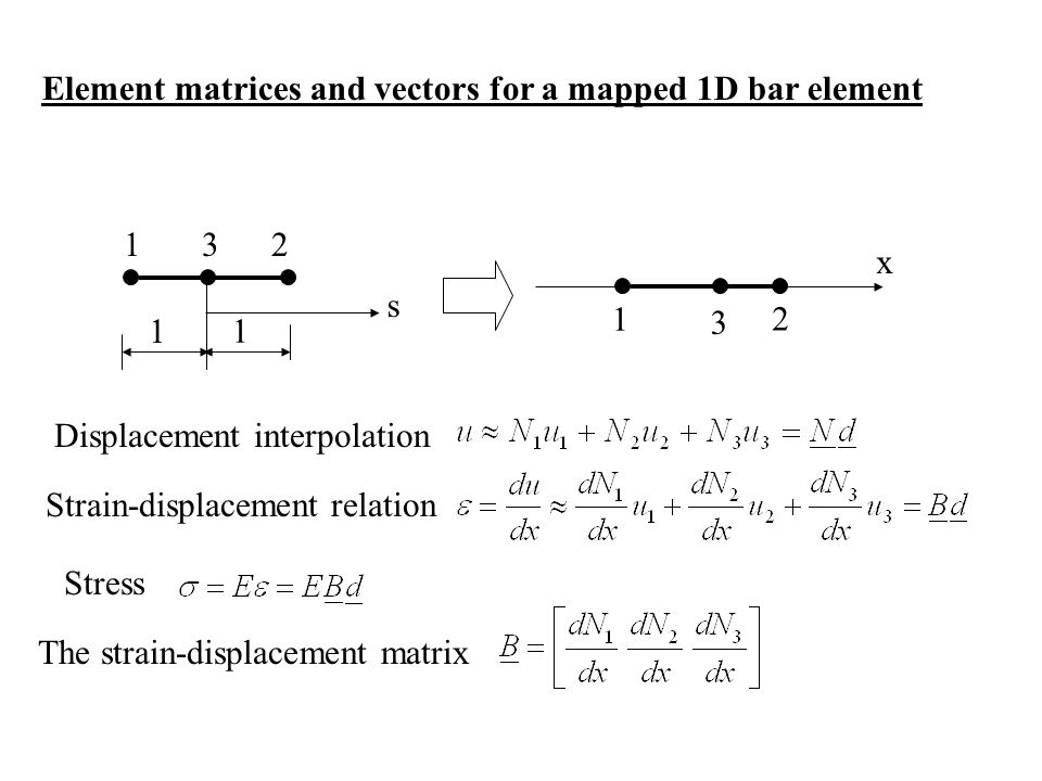 Element matrices and vectors for a mapped 1D bar element