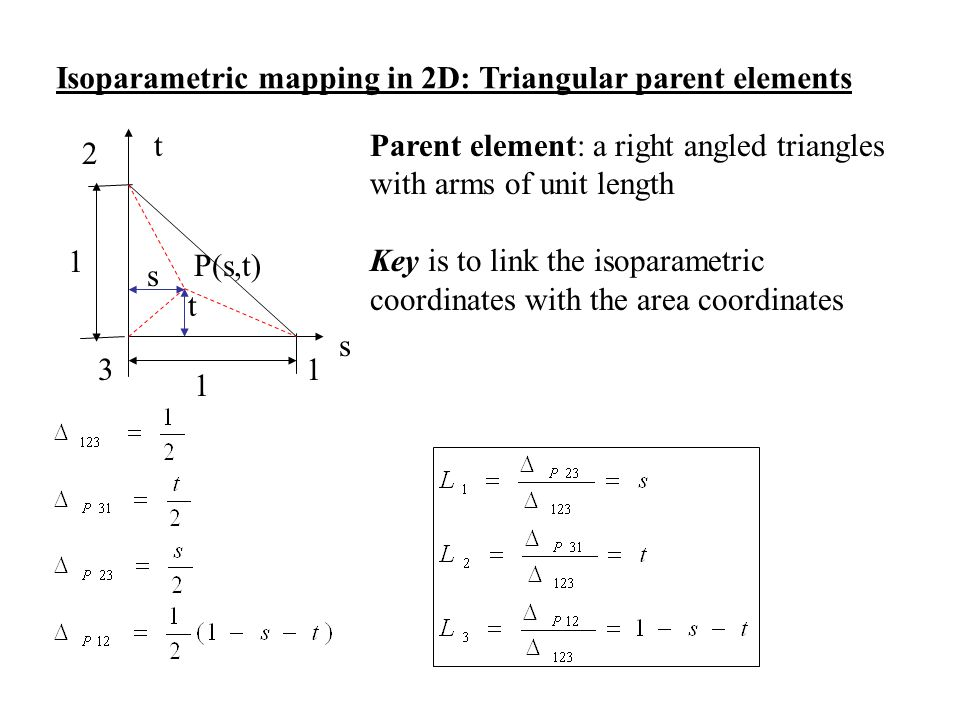 Isoparametric mapping in 2D: Triangular parent elements