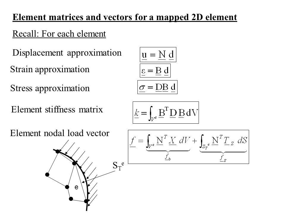 Element matrices and vectors for a mapped 2D element