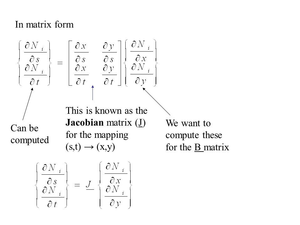 In matrix form This is known as the Jacobian matrix (J) for the mapping. (s,t) → (x,y) We want to compute these for the B matrix.
