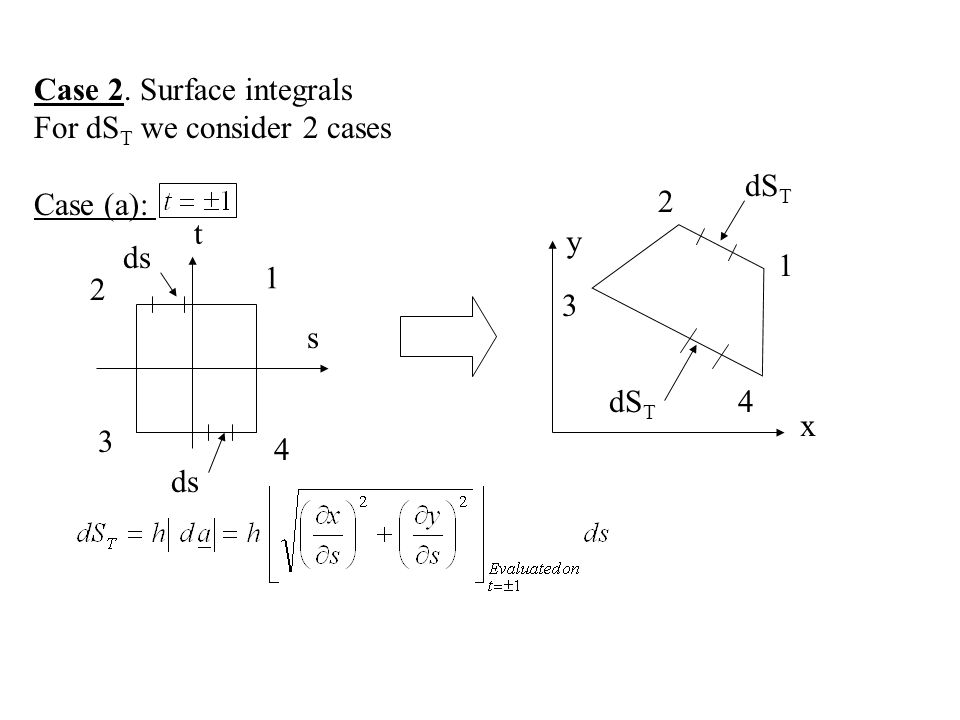 Case 2. Surface integrals