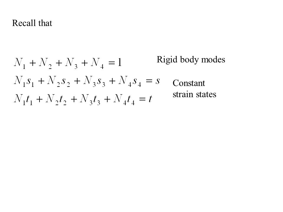 Recall that Rigid body modes Constant strain states