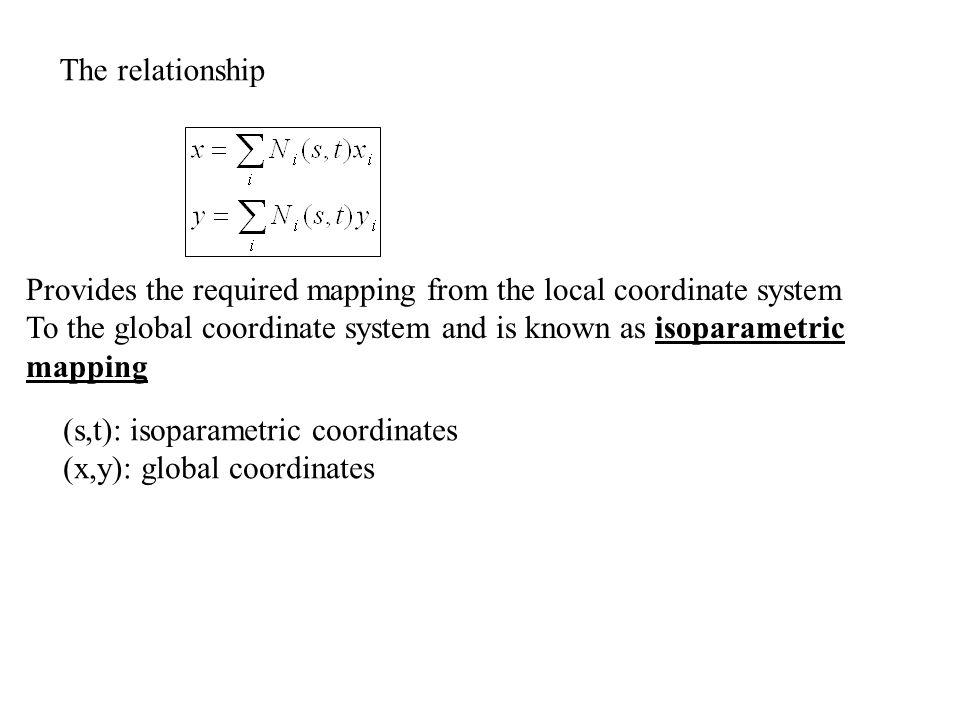 The relationship Provides the required mapping from the local coordinate system.