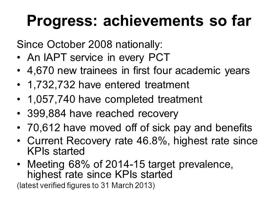 Progress: achievements so far