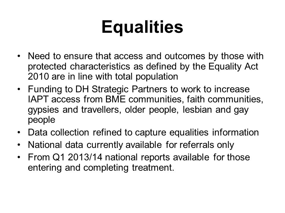 Equalities