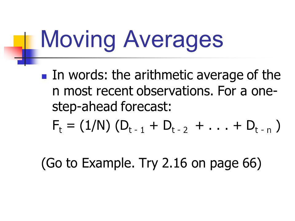 Moving Averages In words: the arithmetic average of the n most recent observations. For a one-step-ahead forecast: