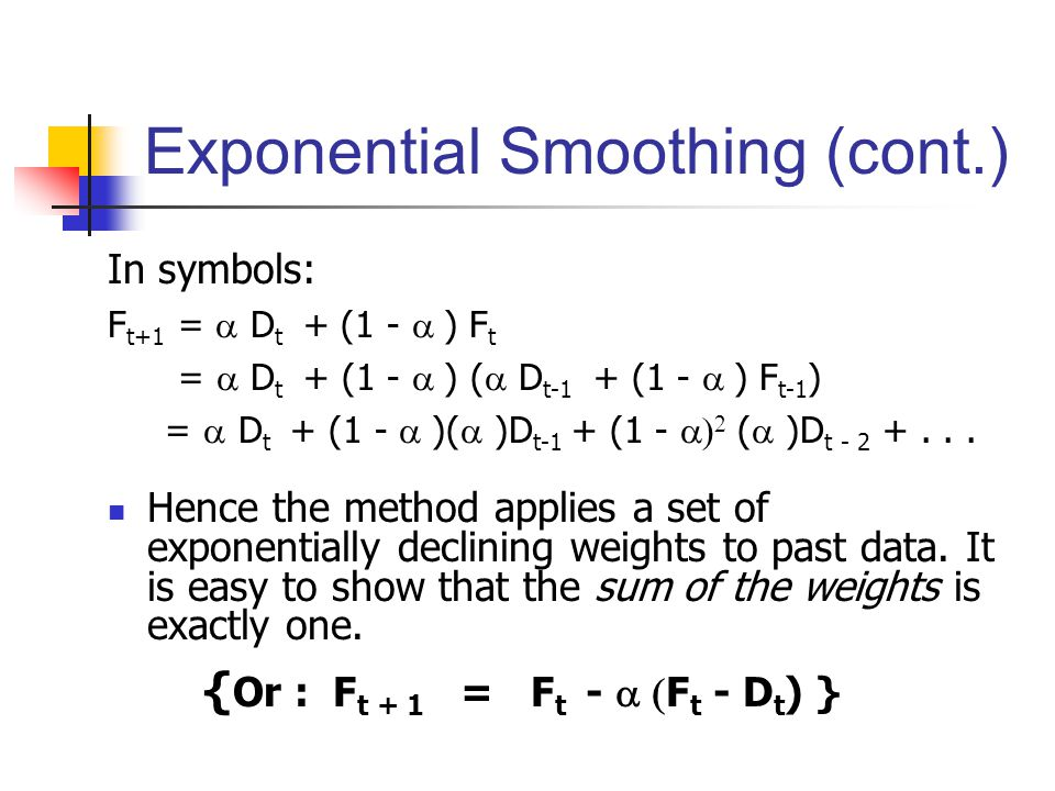 Exponential Smoothing (cont.)
