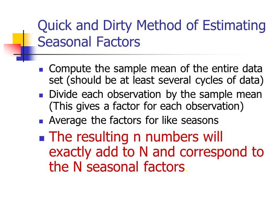 Quick and Dirty Method of Estimating Seasonal Factors