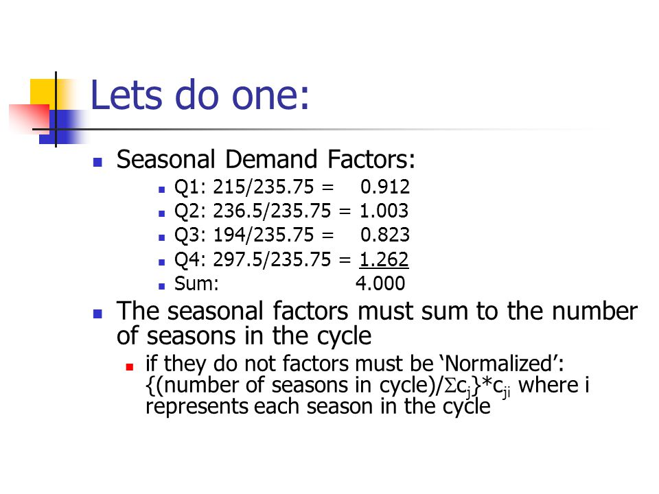 Lets do one: Seasonal Demand Factors: