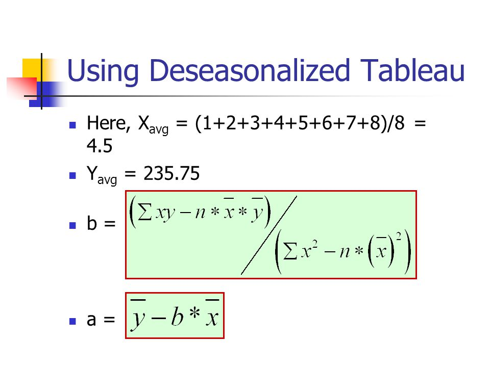 Using Deseasonalized Tableau