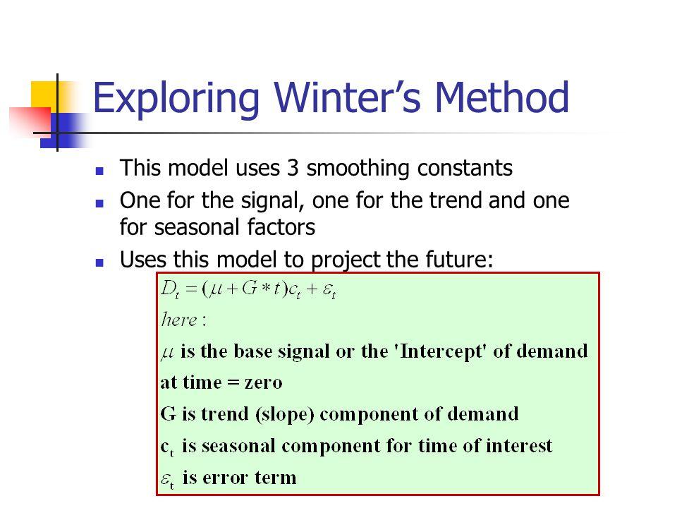 Exploring Winter's Method