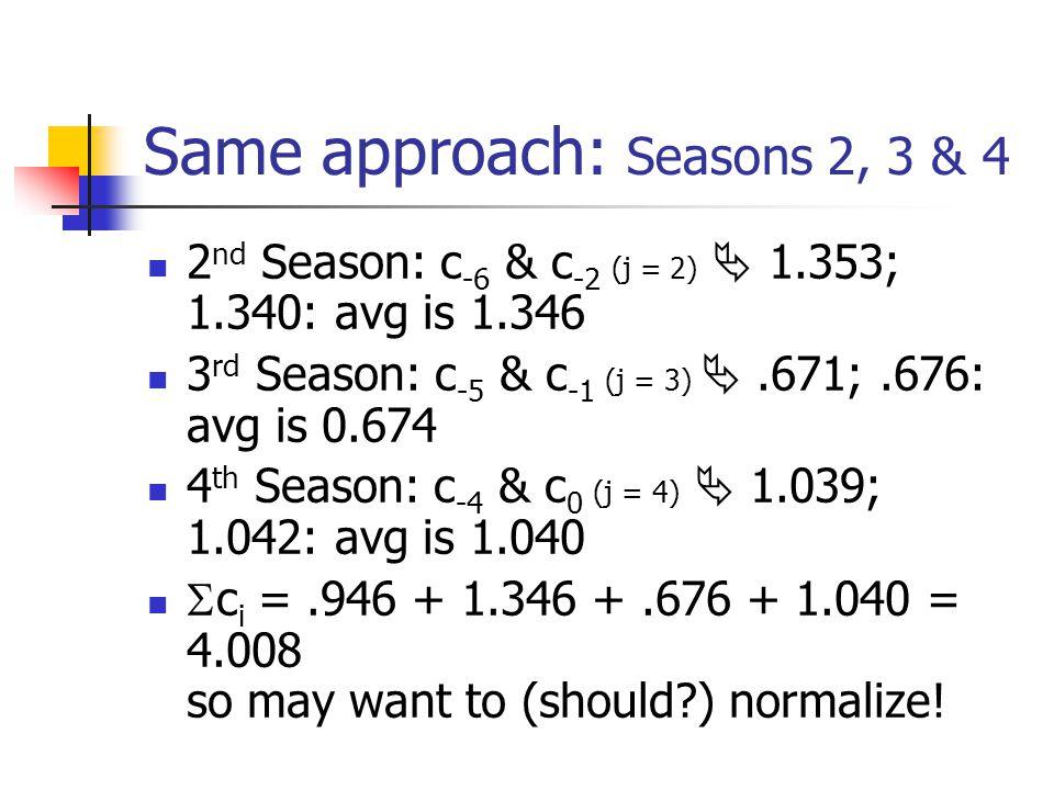 Same approach: Seasons 2, 3 & 4