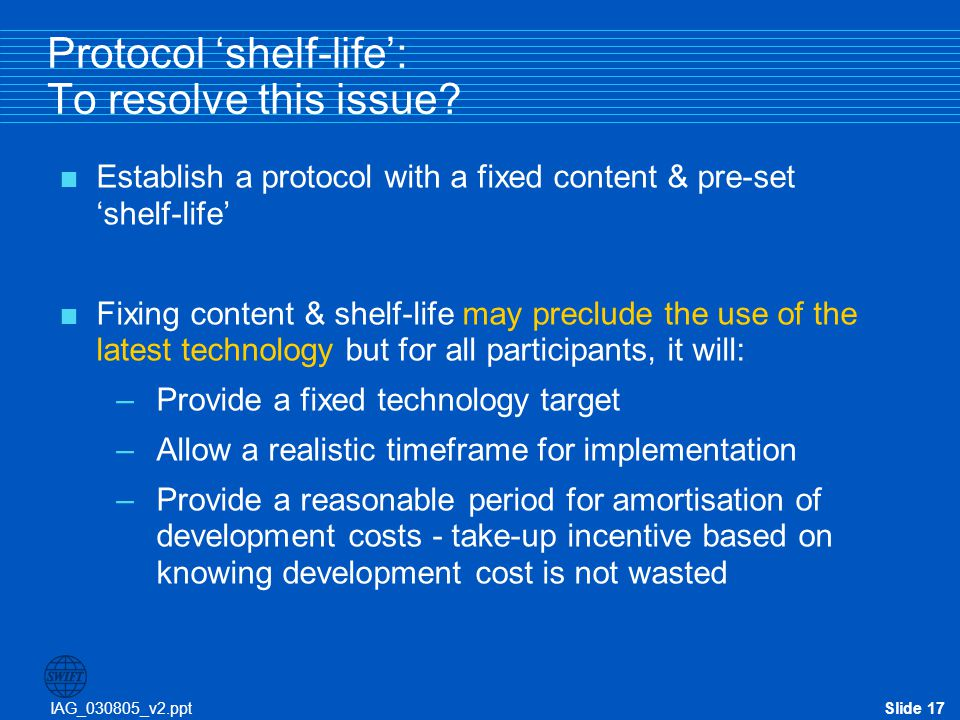Protocol 'shelf-life': To resolve this issue