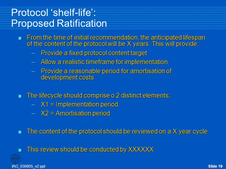 Protocol 'shelf-life': Proposed Ratification