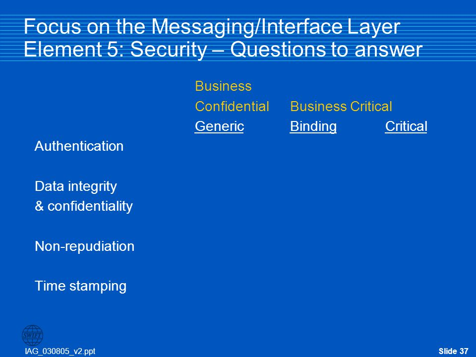 Focus on the Messaging/Interface Layer Element 5: Security – Questions to answer