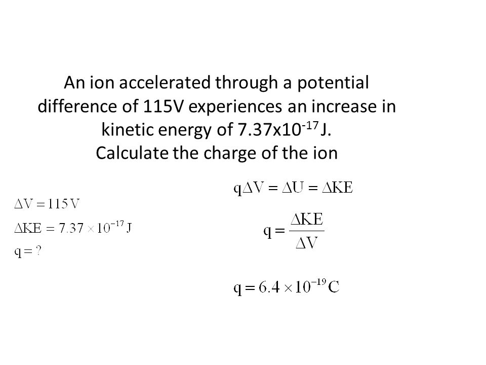 An ion accelerated through a potential difference of 115V experiences an increase in kinetic energy of 7.37x10-17 J.