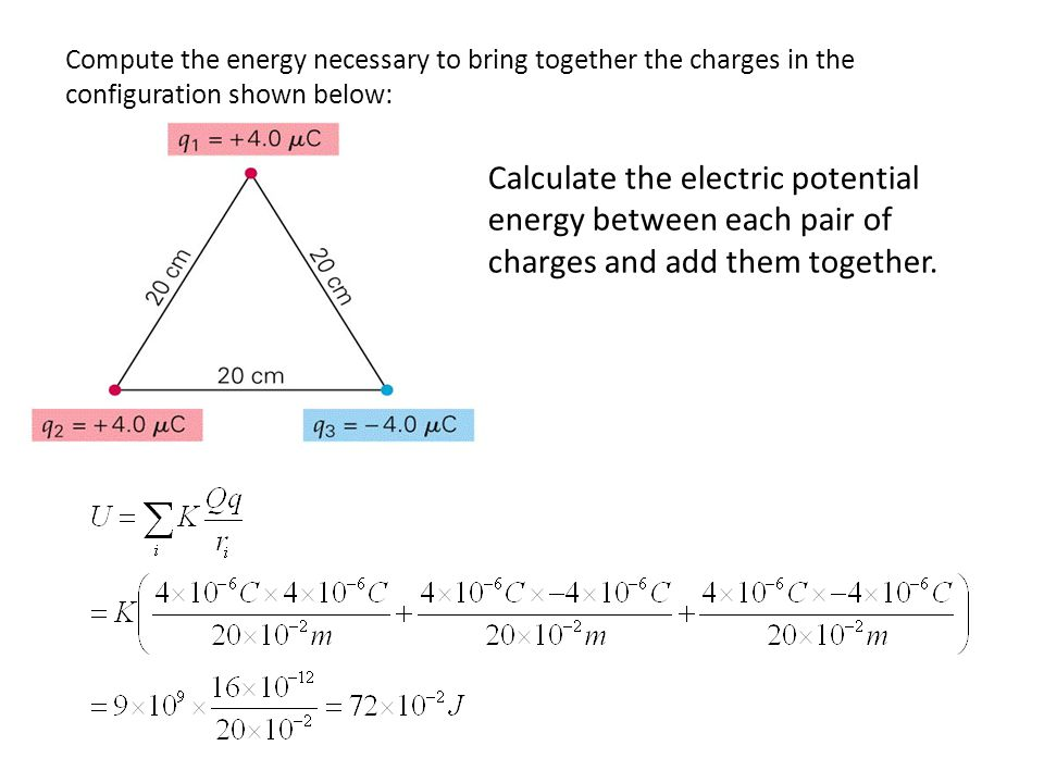 Compute the energy necessary to bring together the charges in the configuration shown below: