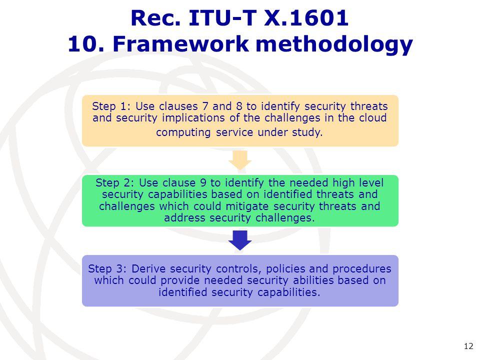 Rec. ITU-T X.1601 10. Framework methodology