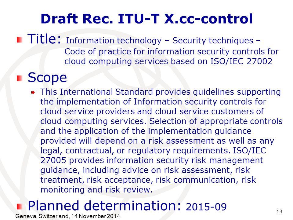 Draft Rec. ITU-T X.cc-control